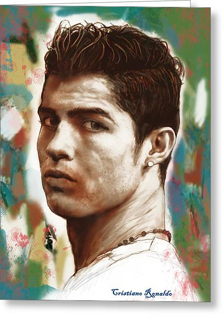 Most Greeting Cards - Cristiano Ronaldo stylised pop art drawing potrait poster Greeting Card by Kim Wang