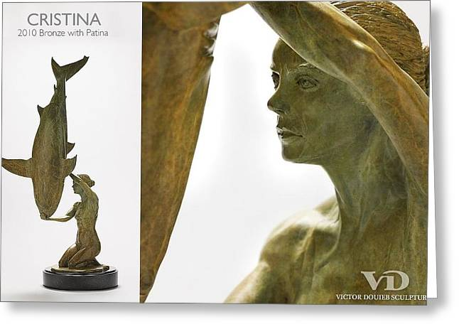 Sharks Sculptures Greeting Cards - Cristina Greeting Card by Victor Douieb