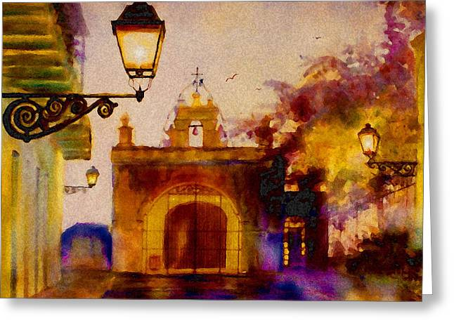 Old City Prints Greeting Cards - Cristo Chapel San Juan Greeting Card by Estela Robles