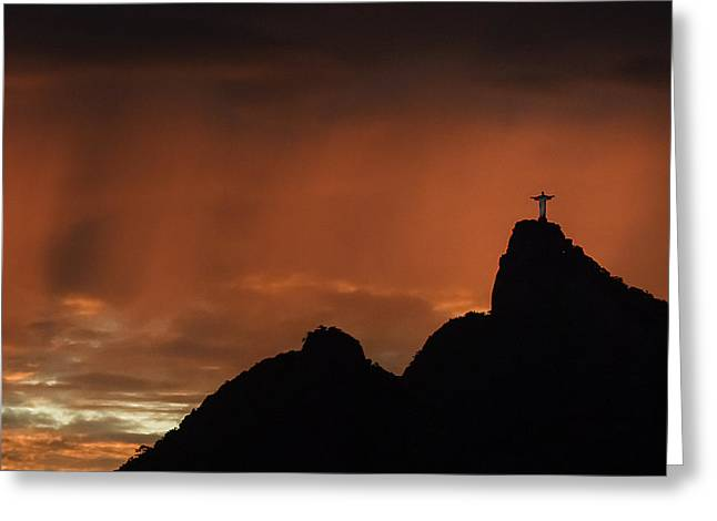 Amazing Sunset Greeting Cards - Cristo in the amazing sky 3 Greeting Card by Eulina Rego