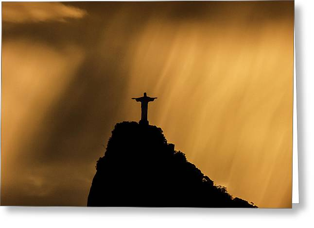Amazing Sunset Greeting Cards - Cristo in the amazing sky 4 Greeting Card by Eulina Rego