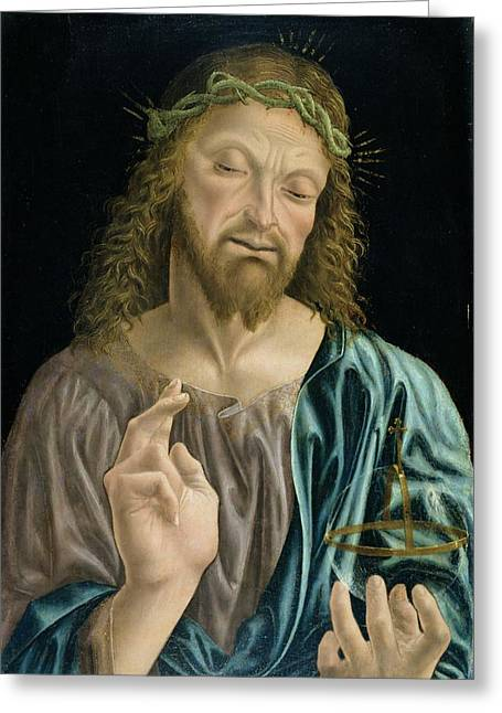 Orb* Greeting Cards - Cristo Salvator Mundi, C.1490-94 Greeting Card by Master of the Pala Sforzesca