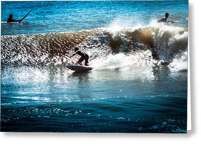 Surf City Greeting Cards - Cristobals Ride Greeting Card by Karen Wiles
