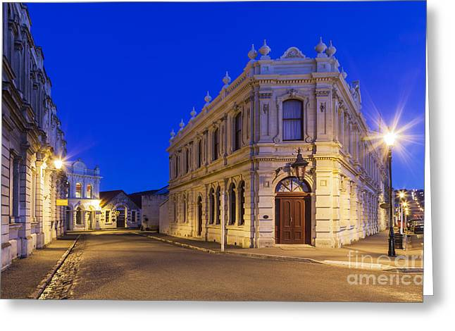 Night Lamp Greeting Cards - Criterion Hotel Oamaru New Zealand Greeting Card by Colin and Linda McKie