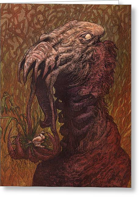 Men Mixed Media Greeting Cards - CroakJaw  Greeting Card by Ethan Harris