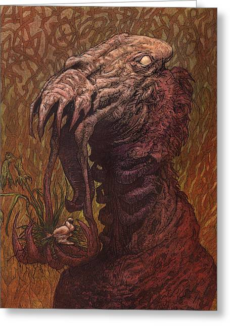 Fantasy Tree Mixed Media Greeting Cards - CroakJaw  Greeting Card by Ethan Harris