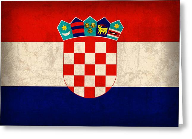 Croatia Greeting Cards - Croatia Flag Vintage Distressed Finish Greeting Card by Design Turnpike