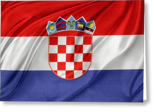 Textiles Photographs Greeting Cards - Croatian flag Greeting Card by Les Cunliffe