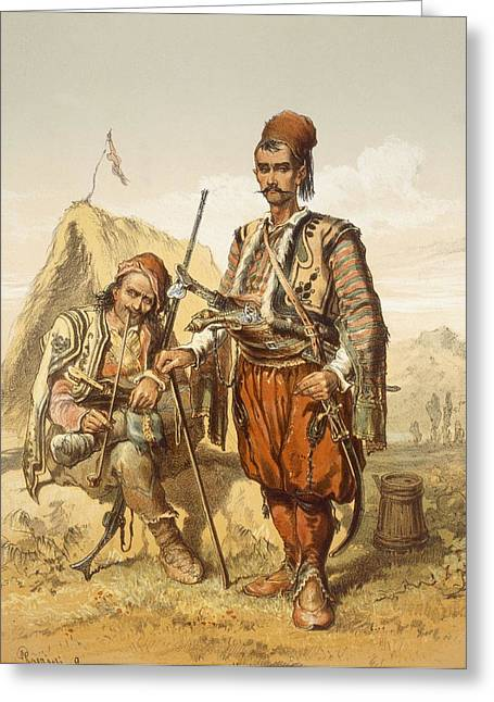 Pipe Drawings Greeting Cards - Croatian Guards, 1865 Greeting Card by Amadeo Preziosi
