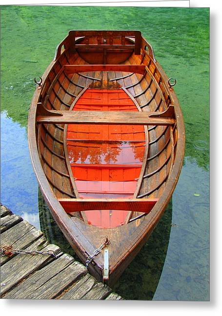 Wooden Ship Greeting Cards - Croatian Rowboat Greeting Card by Ramona Johnston