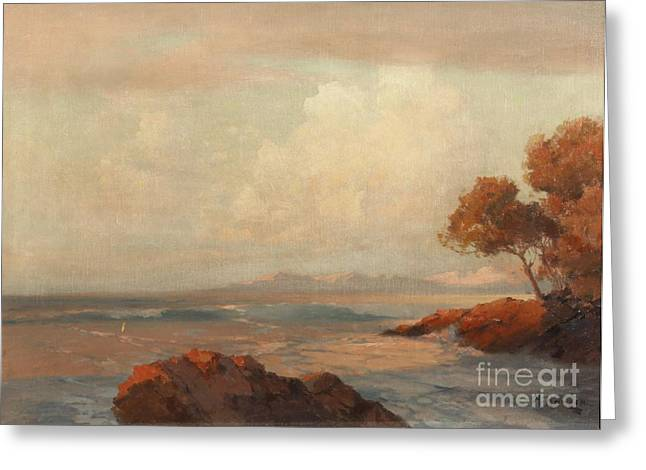 Orthodox Paintings Greeting Cards - Croatian Sea Greeting Card by Celestial Images