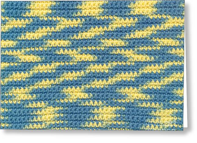Wave Tapestries - Textiles Greeting Cards - Crochet made with variegated yarn Greeting Card by Kerstin Ivarsson