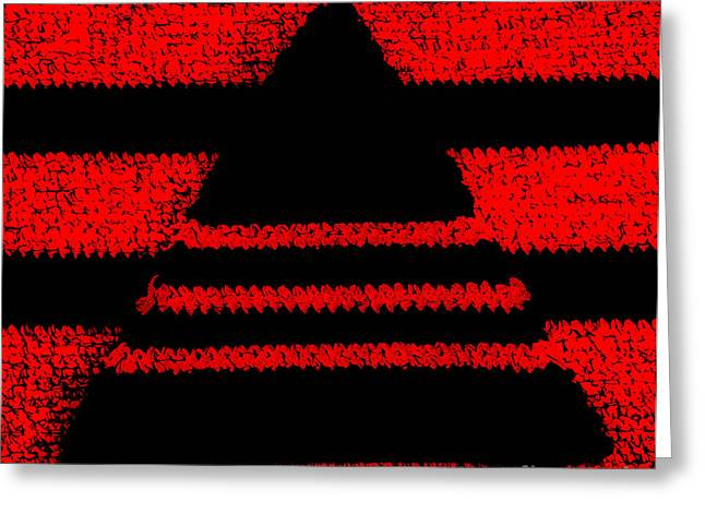 Striped Tapestries - Textiles Greeting Cards - Crochet pyramid digitally manipulated Greeting Card by Kerstin Ivarsson