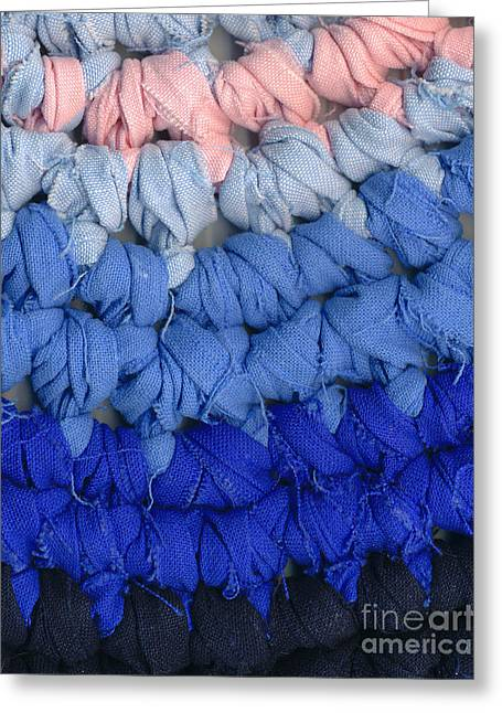 Shade Tapestries - Textiles Greeting Cards - Crochet rag rug closeup Greeting Card by Kerstin Ivarsson
