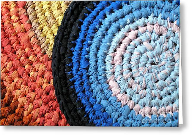 Circles Tapestries - Textiles Greeting Cards - Crochet Rag Rugs Greeting Card by Kerstin Ivarsson