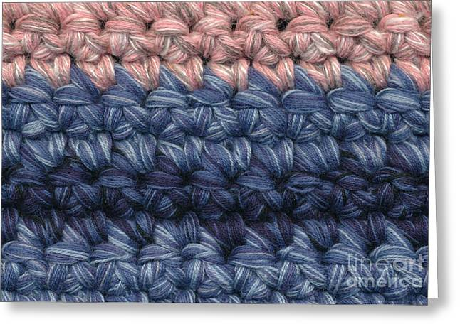 Background Tapestries - Textiles Greeting Cards - Crochet stripes closeup Greeting Card by Kerstin Ivarsson