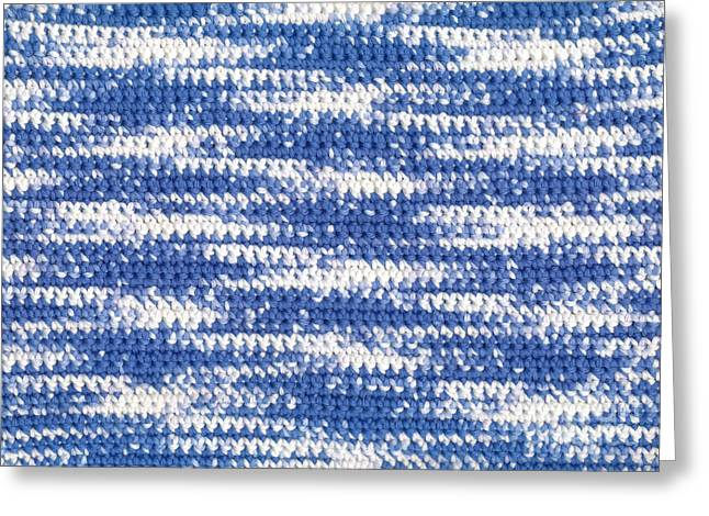 Wave Tapestries - Textiles Greeting Cards - Crochet Water Waves Greeting Card by Kerstin Ivarsson
