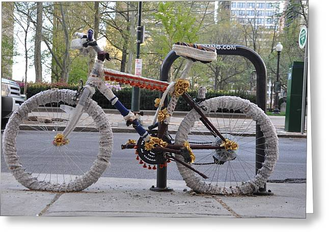 Quirky Greeting Cards - Crocheted Bicycle Greeting Card by Bill Cannon