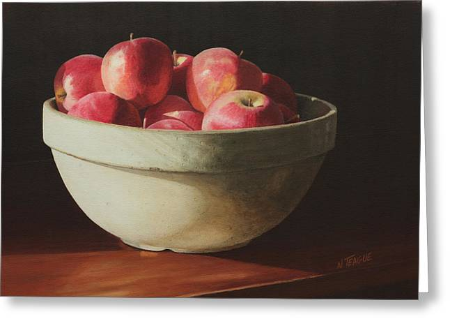 Shadows On Apples Greeting Cards - Crock Apples Greeting Card by Nancy Teague