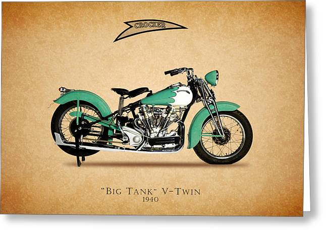 V Twin Greeting Cards - Crocker Big Tank V-Twin Greeting Card by Mark Rogan