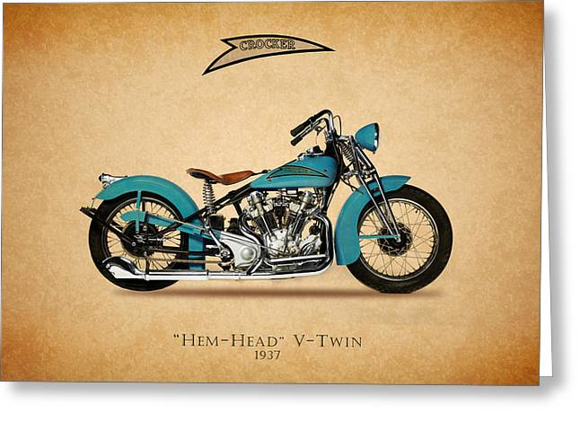 V Twin Greeting Cards - Crocker Hem-Head V-Twin Greeting Card by Mark Rogan