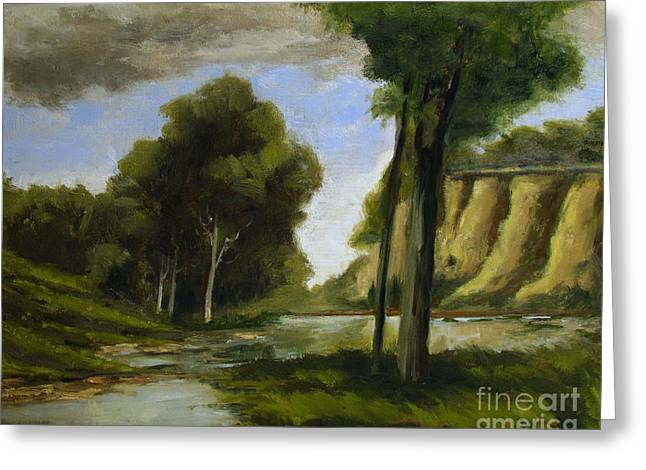 Indiana Landscapes Paintings Greeting Cards - Crockets View of Seven Pillars Greeting Card by Charlie Spear
