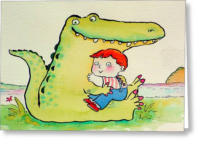 Book Illustrations Greeting Cards - Crocodile Hug, Or Best Friends Pen & Ink And Wc On Paper Greeting Card by Maylee Christie