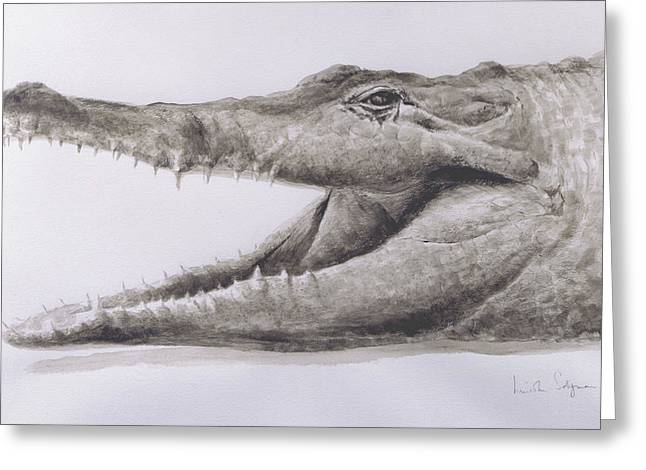 Opening Greeting Cards - Crocodile Greeting Card by Lincoln Seligman