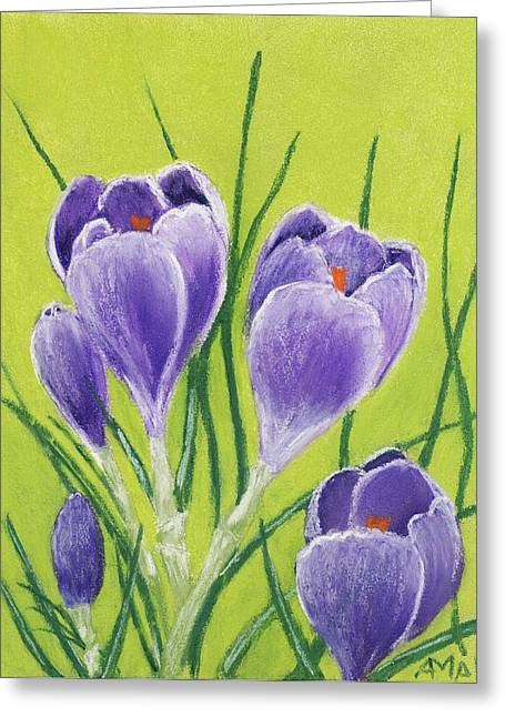 Natural Pastels Greeting Cards - Crocus Greeting Card by Anastasiya Malakhova