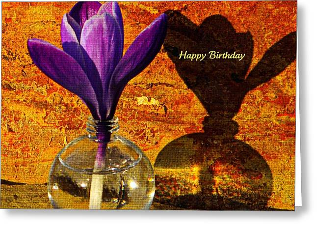 Water Jars Greeting Cards - Crocus Floral Birthday Card Greeting Card by Chris Berry