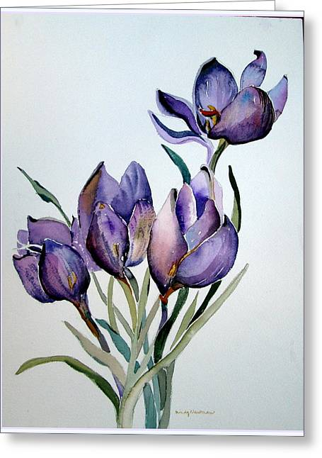 Easter Flowers Drawings Greeting Cards - Crocus in April Greeting Card by Mindy Newman
