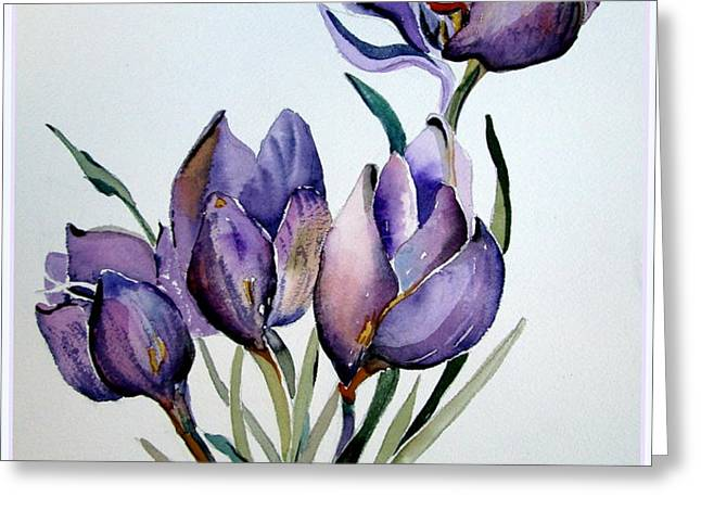 Crocus in April Greeting Card by Mindy Newman