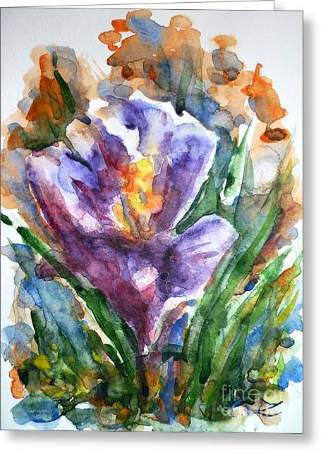 Best Selling Flower Art Greeting Cards - Crocus  Greeting Card by Zaira Dzhaubaeva
