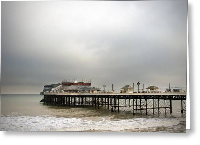 cromer pier on a muggy cold day Greeting Card by Fizzy Image