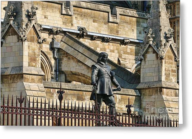 Cromwell Greeting Cards - Cromwell Statue and Parliament 5296 Greeting Card by Jack Schultz