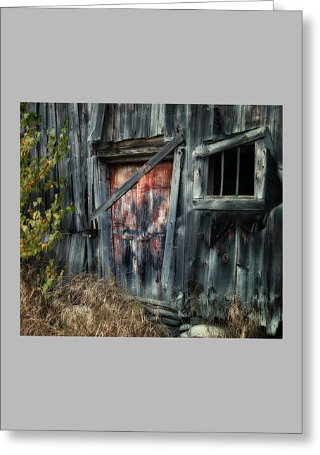 Maine Farmhouse Greeting Cards - Crooked Barn - Rustic Barns Series  Greeting Card by Thomas Schoeller