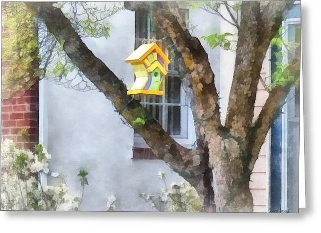 Window Greeting Cards - Crooked Bird House Greeting Card by Susan Savad