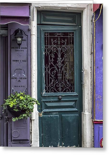 French Door Greeting Cards - Crooked Door in Montmartre Greeting Card by Nomad Art And  Design