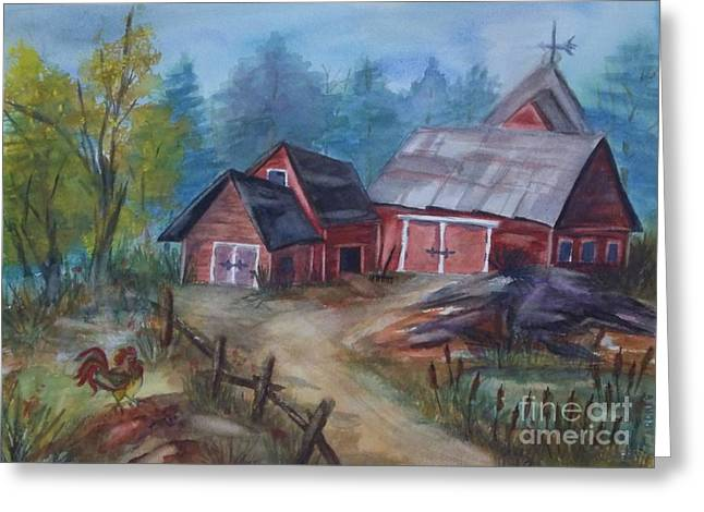 Dilapidated Paintings Greeting Cards - Crooked Red Barn Greeting Card by Ellen Levinson