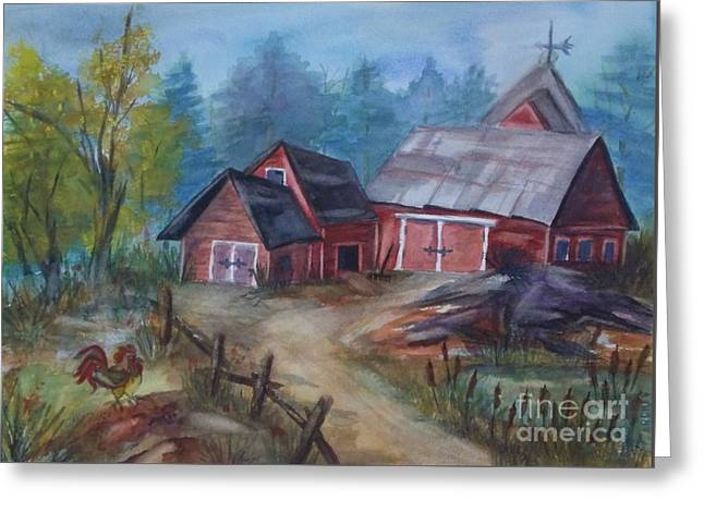 Crooked Fence Greeting Cards - Crooked Red Barn Greeting Card by Ellen Levinson