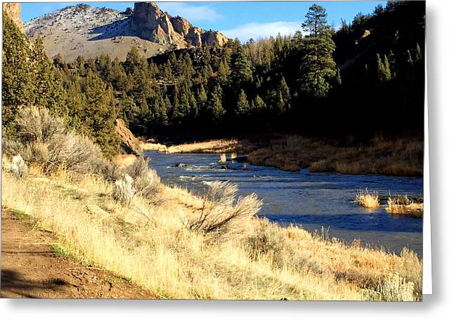 Crooked River December Morning Greeting Card by Nancy Merkle