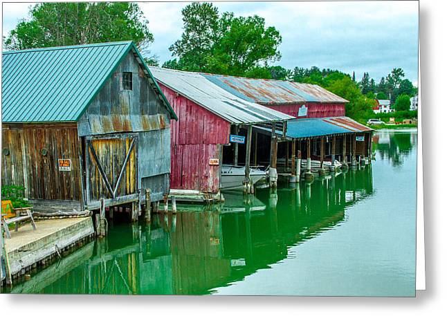 Bill Gallagher Greeting Cards - Crooked River Marina Greeting Card by Bill Gallagher