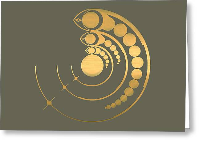 Olive Drab Greeting Cards - Crop Circle Formation near Avebury Stone Circle in Wiltshire England in Gold Greeting Card by Serge Averbukh