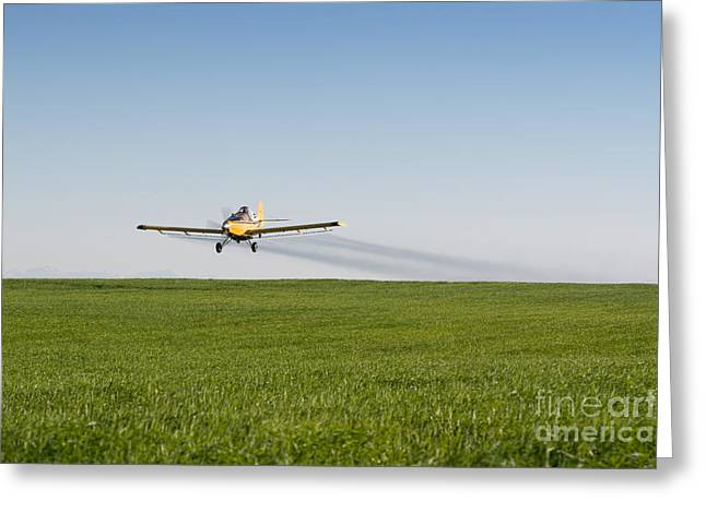 Crop Dusters Greeting Cards - Crop Duster Airplane Flying Over Farmland Greeting Card by Cindy Singleton