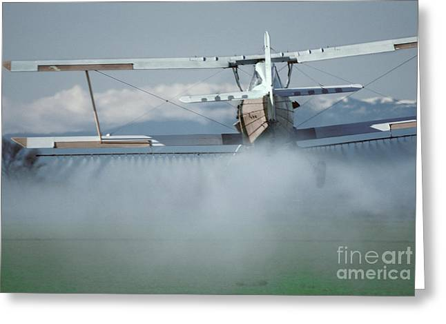 Crop Dusters Greeting Cards - Crop Duster Applying Fertilizer Greeting Card by Ron Sanford