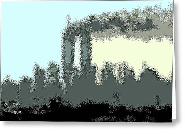 Wtc 11 Mixed Media Greeting Cards - Cropped Distorted View Greeting Card by Kosior