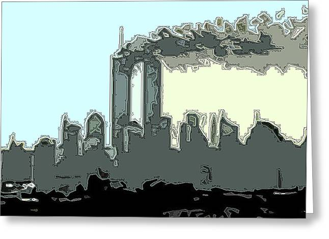 Wtc 11 Mixed Media Greeting Cards - Cropped Outline Greeting Card by James Kosior