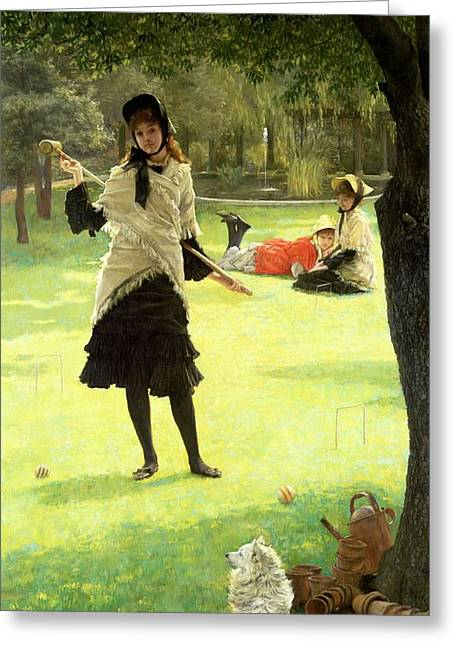 Game Greeting Cards - Croquet, C.1878 Oil On Canvas Greeting Card by James Jacques Joseph Tissot