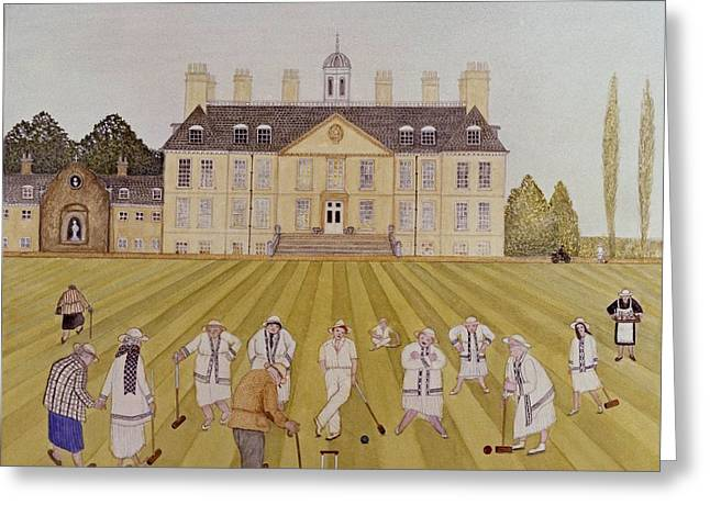 Croquet Greeting Cards - Croquet On The Lawn, 1989 Watercolour On Paper Greeting Card by Gillian Lawson
