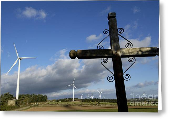 Cros and winturbine Greeting Card by BERNARD JAUBERT